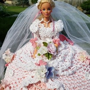 Fairy tale Bride doll, pink crochet